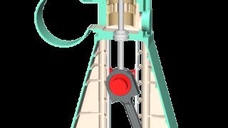 クロスヘッド型2ストローク機関の3Dイメージ図